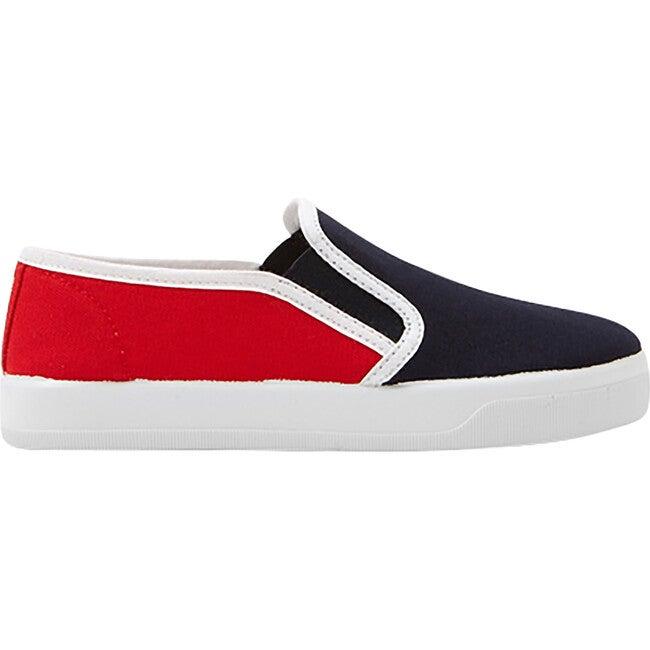 Slip-On Shoe, Navy & Red