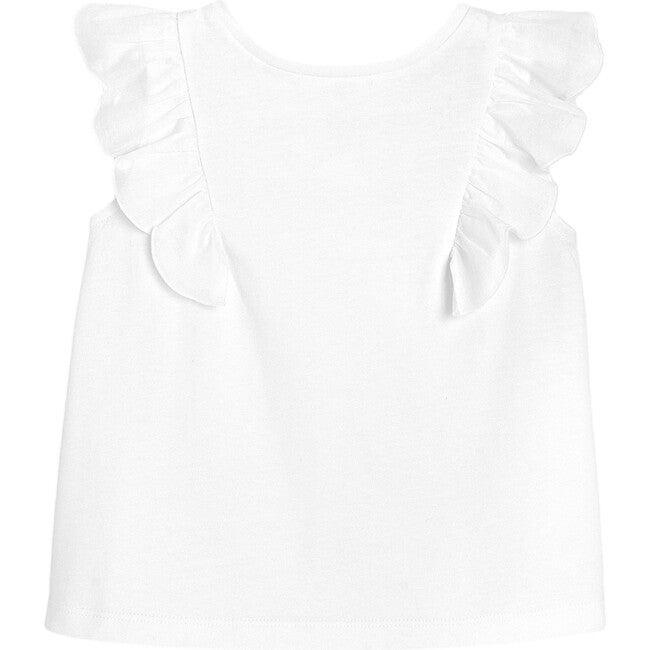 Ruffle Sleeves T-Shirt, White