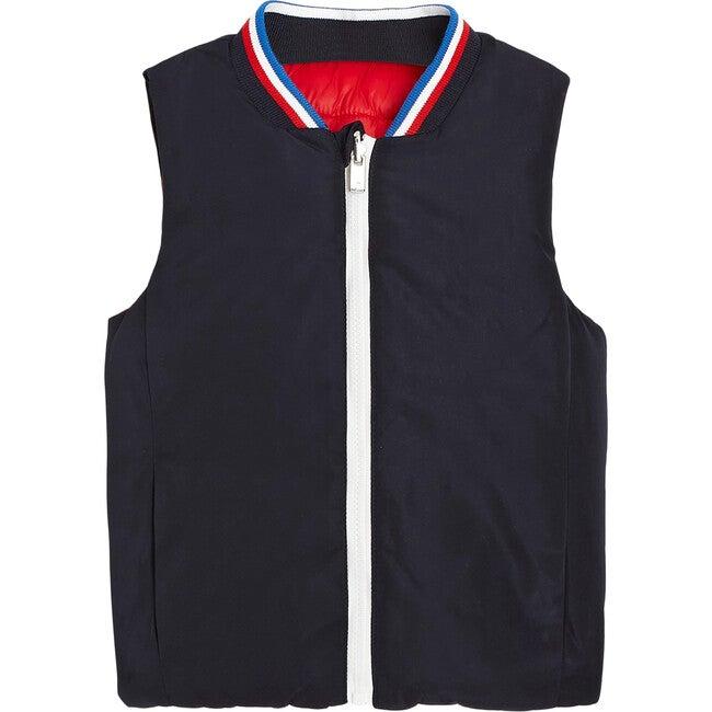 Toddler Sleeveless Reversible Puffer Jacket, Navy Blue