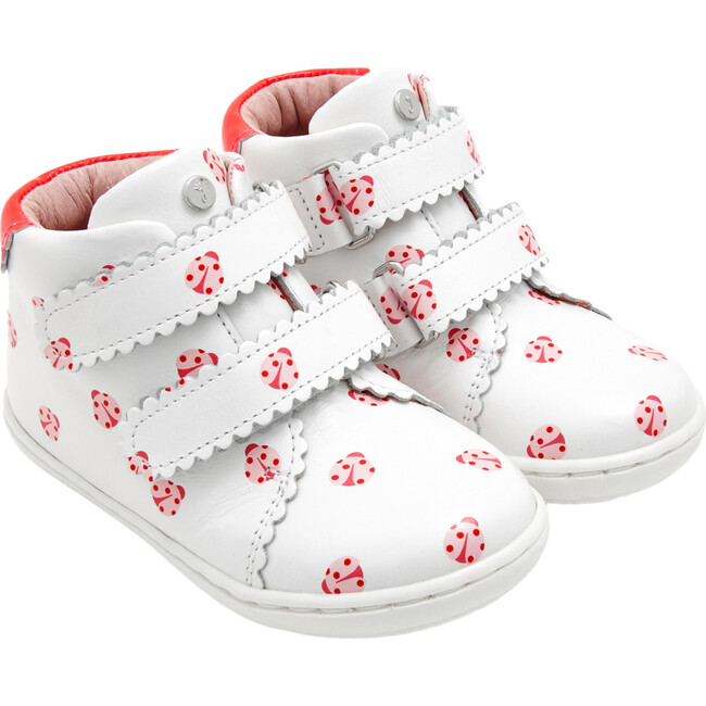 Baby High Top Sneakers, White & Red