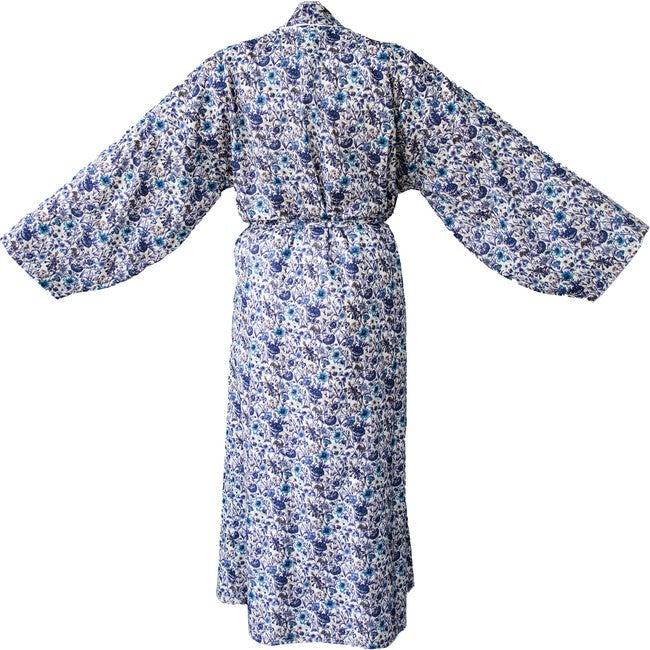 Women's Veetzie Kimono Robe, Blue & White Liberty