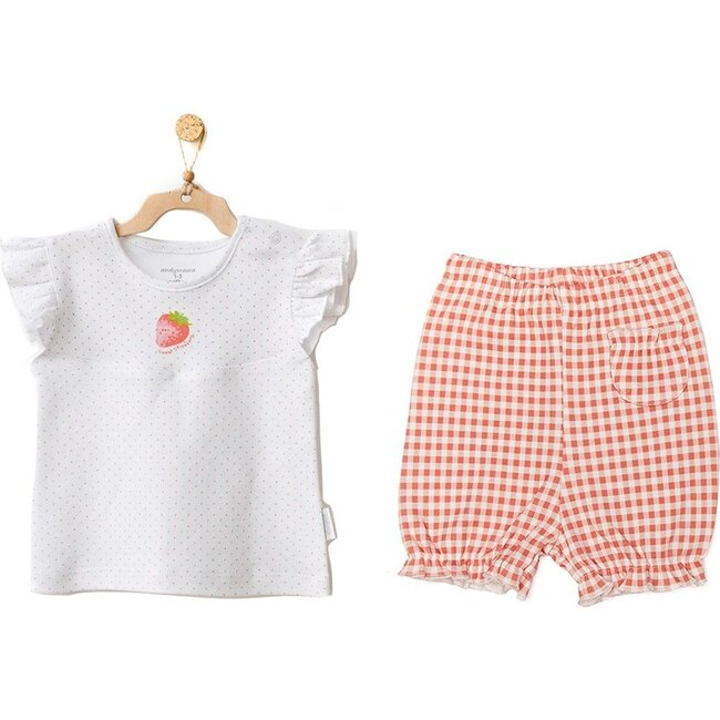 Strawberry Plaid Outfit, White