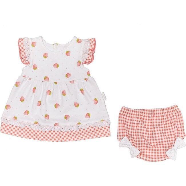 Strawberry Picnic Dress, White