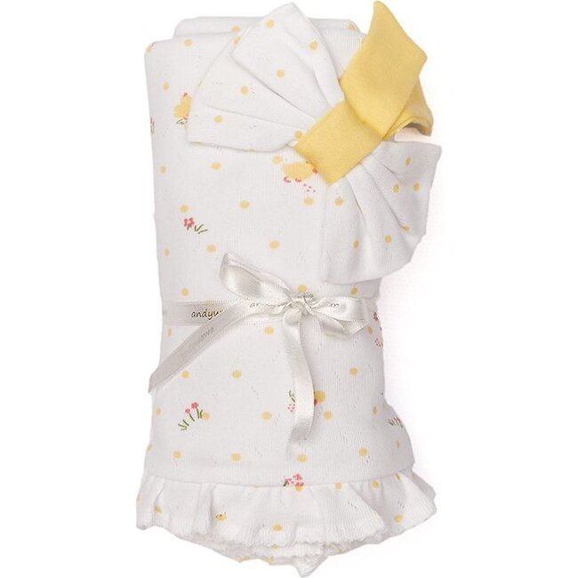 Happy Chicky Blanket, White