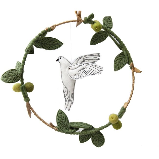 Dove and Olive Branch Mobile, Green/Gold