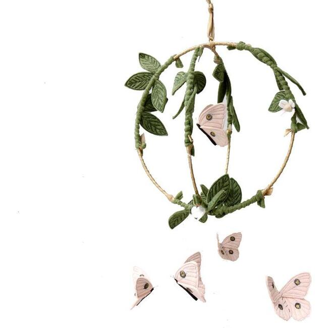 Butterfly Garden Mobile, Pink/Gold Floral