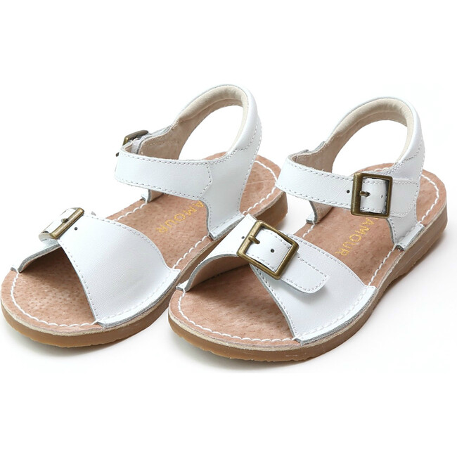 Olivia Leather Buckle Open ToeSandal, White