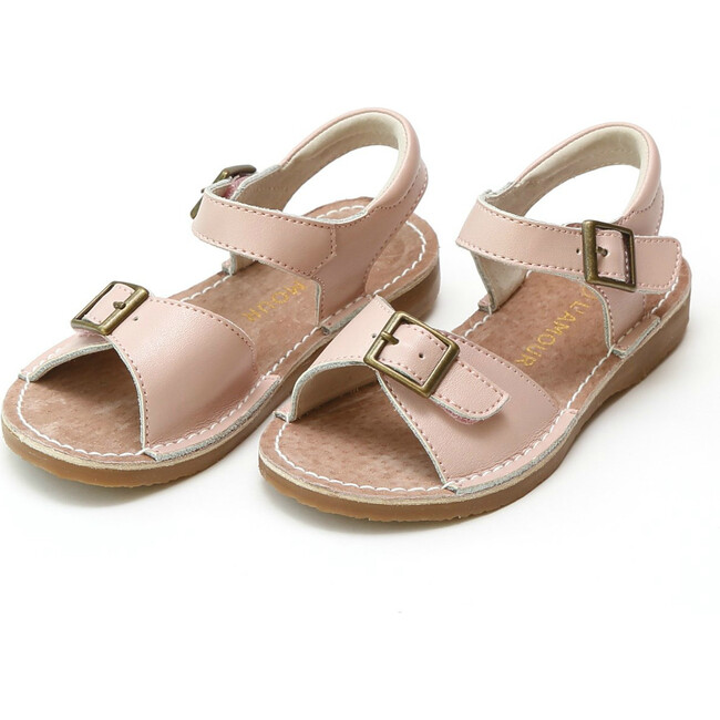 Olivia Leather Buckle Open ToeSandal, Pink