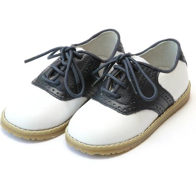 Luke Two Tone Leather Saddle Shoe, White/Navy