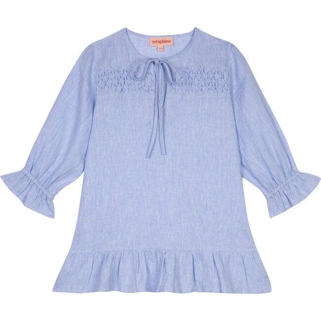 The Little Smocked Kaftan, Blue Linen Chambray