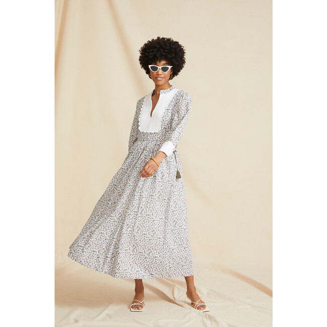 Women's The Scallop Bib Dress, Khaki Floral