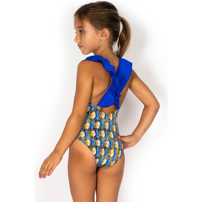 Ruffle Crisscross Swim, Blue Pineapple