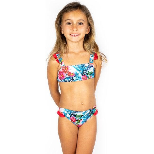 Ruffle Bikini, Blue Hibiscus Red