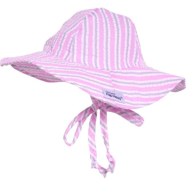 UPF 50+ Floppy Hat, Cotton Candy Stripe Seersucker - Hats - 1