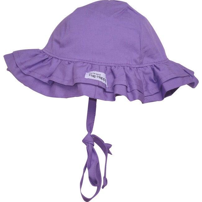 UPF 50+ Double Ruffle Hat, Purple - Hats - 1