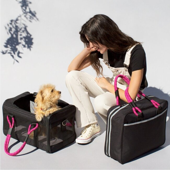 Pet Travel Bag, Black and Magenta