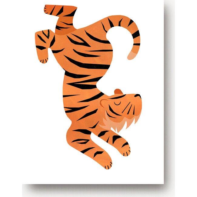 Theo the Tiger Art Print, Orange