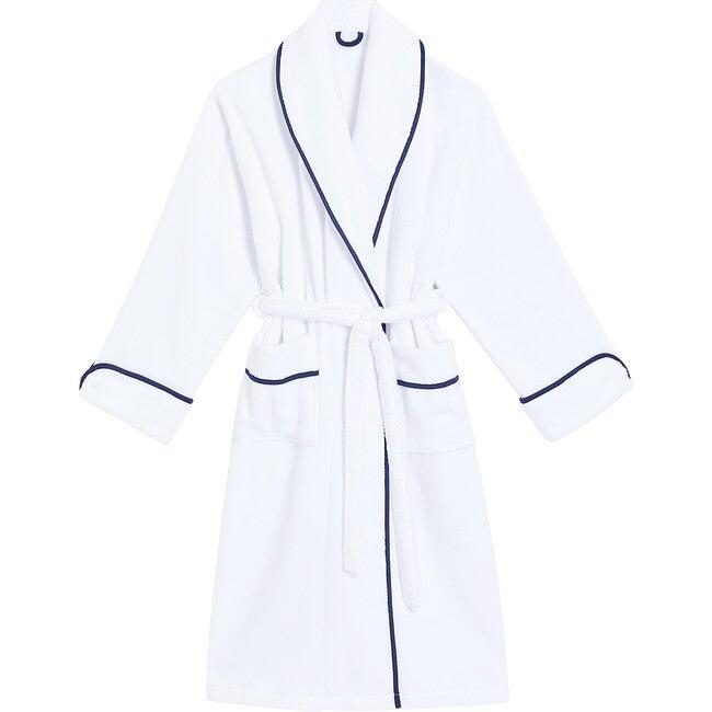 Women's Hotel Robe, White & Navy