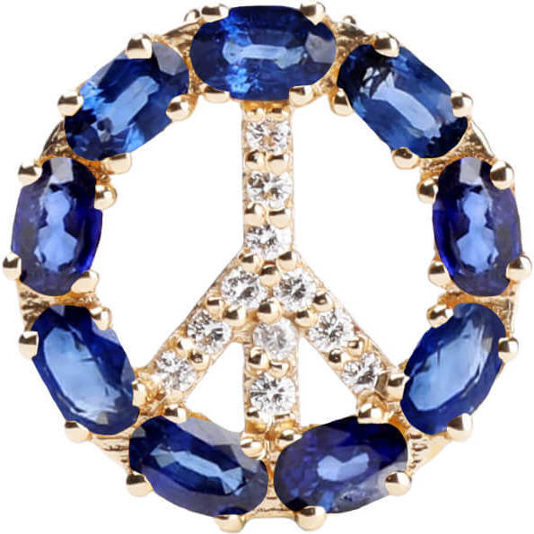 Pendant Peace Sign with Natural Blue Sapphire 18kt Solid Gold