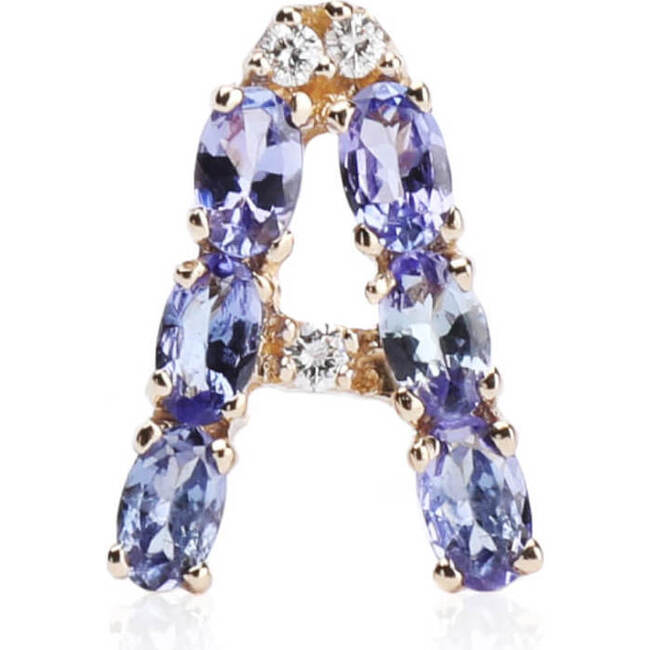 Pendant Letter A-Z Natural Tanzanite 18kt Solid Gold