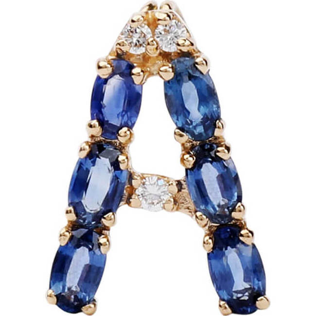 Pendant Letter A-Z Natural Blue Sapphire 18kt Solid Gold