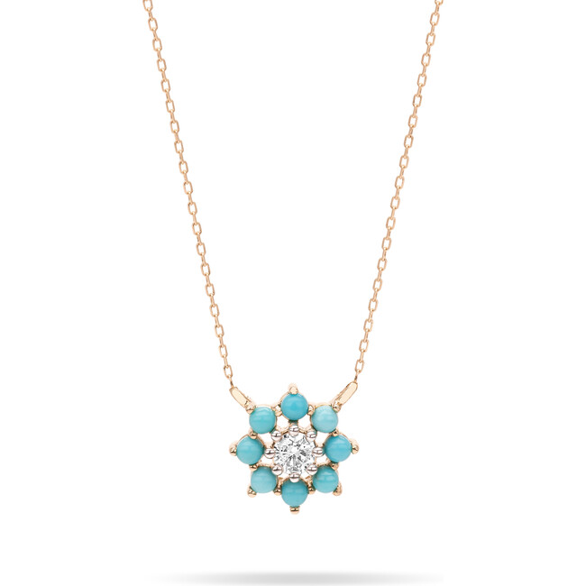 Tiny Turquoise + Diamond Flower Necklace