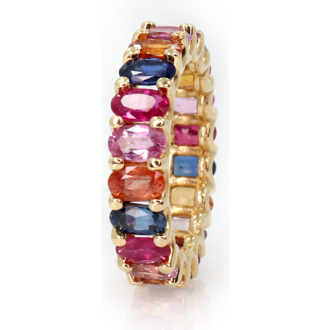 Multicolor Sapphires Eternity Ring 18kt Solid Gold