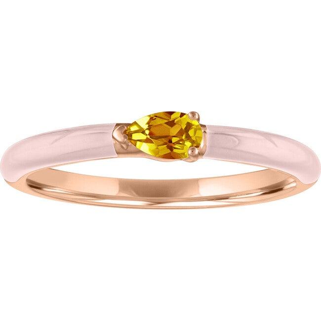 Women's Quinn 14K Rose Gold Citrine Enamel Ring