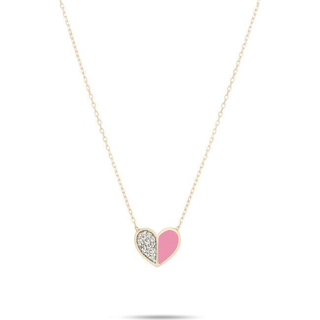 Pink Ceramic Pavé Folded Heart Necklace