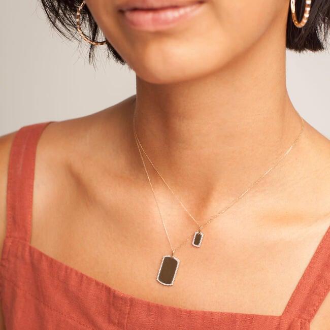 Tiny Pavé Dog Tag Necklace