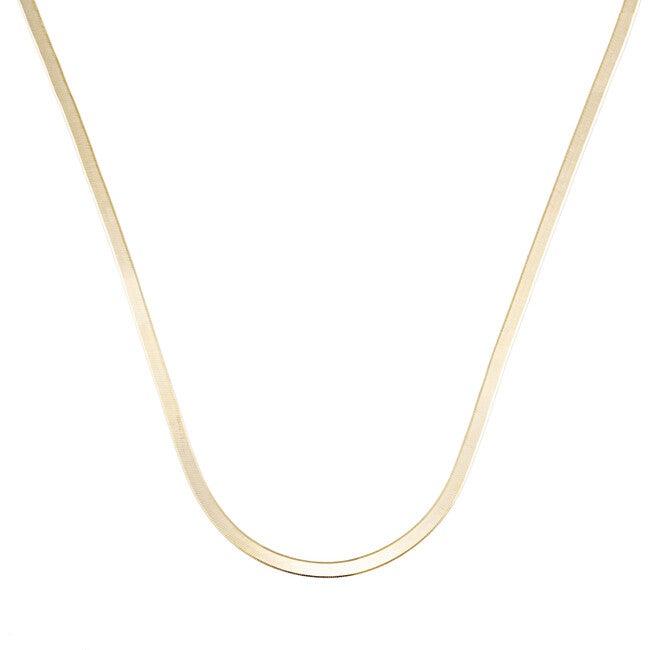 Herringbone Chain Necklace, 18K Gold