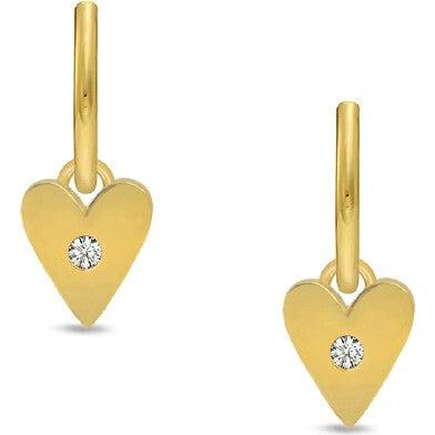 Women's Diamond Heart Charm Earrings