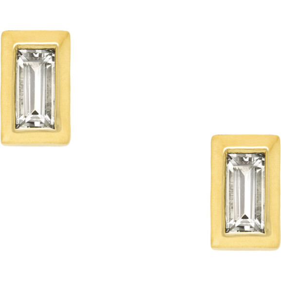 Mini Diamond Baguette Stud Earrings - Earrings - 1
