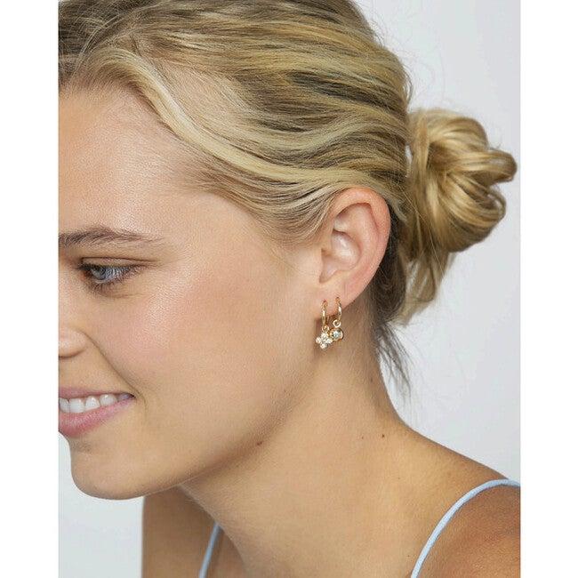 Women's Diamond Clover Charm + Hoop Single Earring-