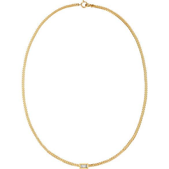 Women's Baguette Curb Chain Necklace