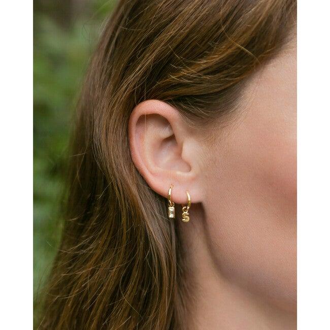 Women's Diamond Baguette Charm + Hoop Single Earring