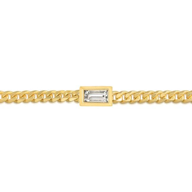 Women's Baguette Curb Chain Bracelet