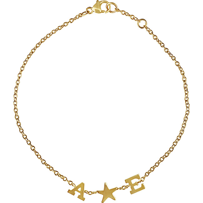 Initial Bracelet with Stars