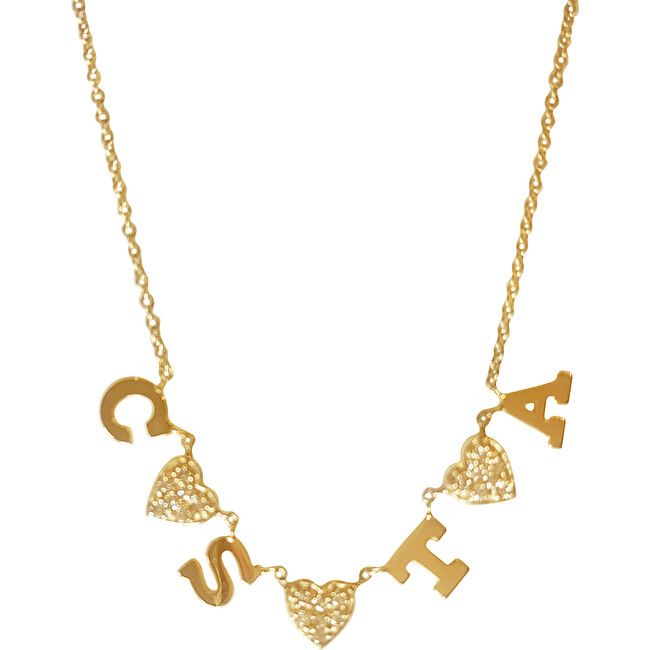 Initial Necklace with Diamond Hearts