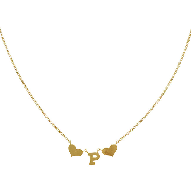 Initial Necklace with Hearts