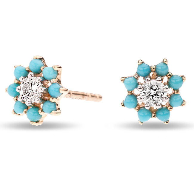 Tiny Turquoise + Diamond Flower Post Earrings