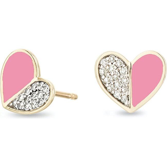 Pink Ceramic Pavé Folded Heart Post Earrings