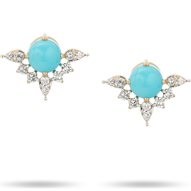 Turquoise + Marquise Diamond Post Earrings