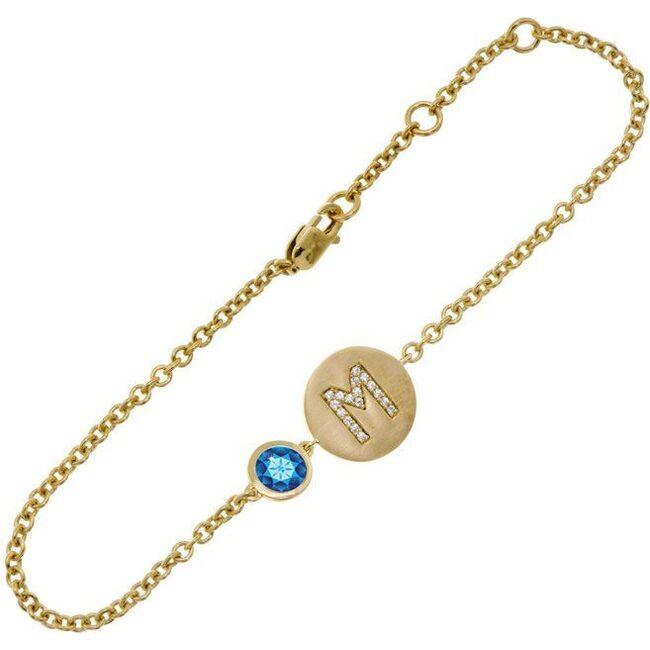 14k Yellow Gold Personalized Birthstone Bracelet, Sapphire