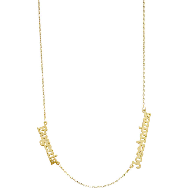 Two Name Necklace 14kt Solid Gold