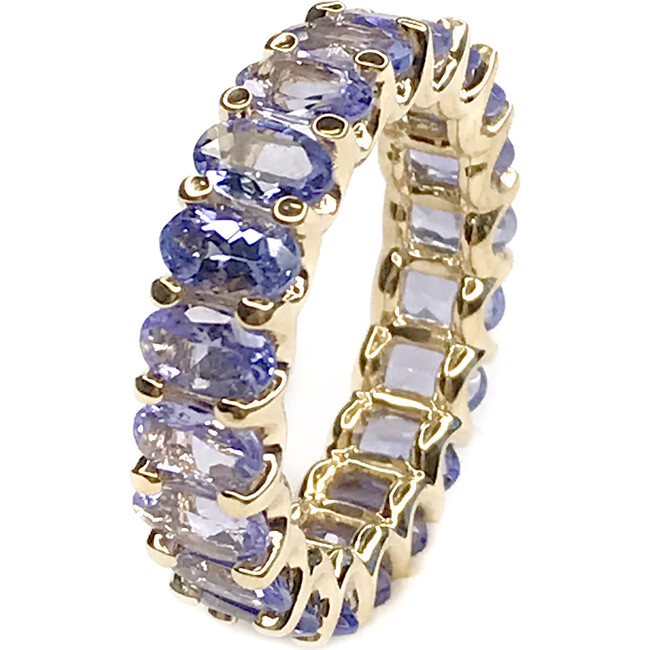 Natural Tanzanite Eternity Ring 18kt Solid Gold