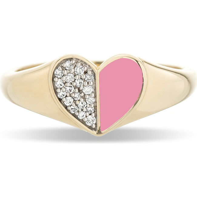 Pink Ceramic Pavé Folded Heart Signet Ring