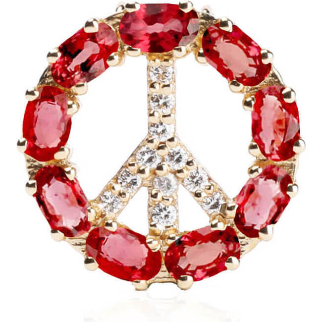 Pendant Peace Sign with Natural Ruby 18kt Solid Gold
