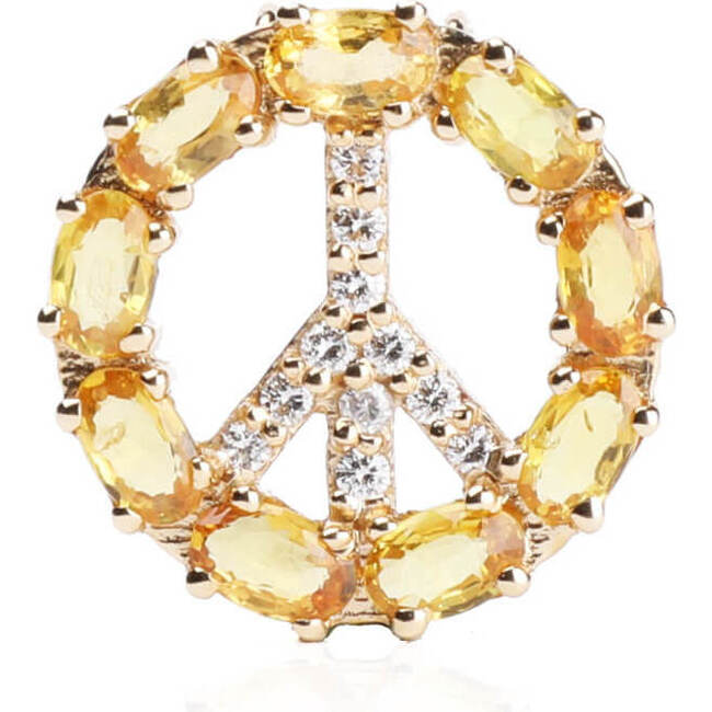 Pendant Peace Sign with Natural Yellow Sapphire 18kt Solid Gold