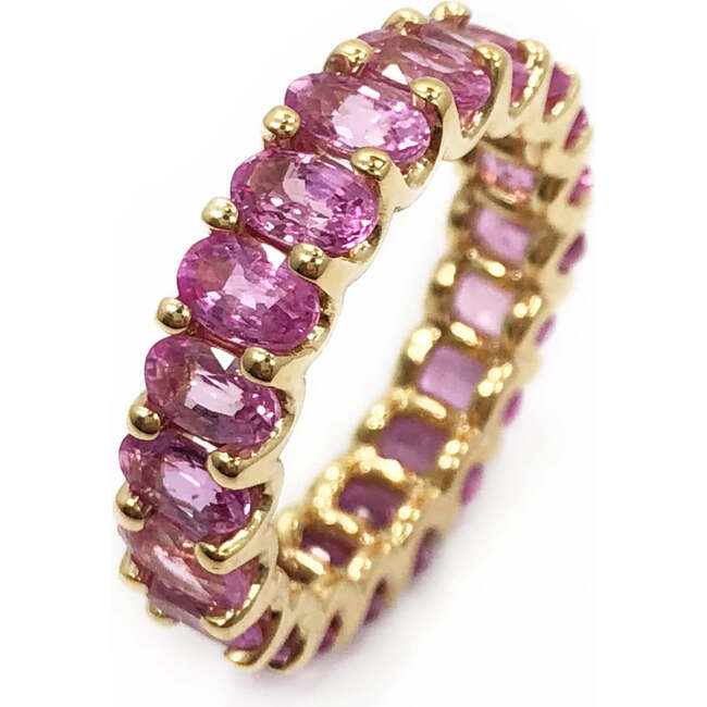 Pink Sapphires Eternity Ring 18kt Solid Gold